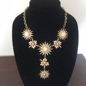 Rhinestone pearl rose gold necklace